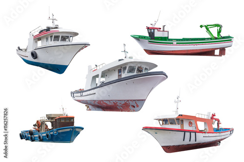 fishing schooners and longboats isolated on white background