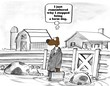 Cartoon about a dog in a pig pen, he now remembers why he stopped being a farm dog.