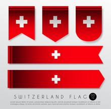 Set Of World Flag Ribbon Template : Vector Illustration