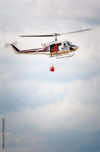 Tuinposter Helicopter Polish helicopter save life on patrol