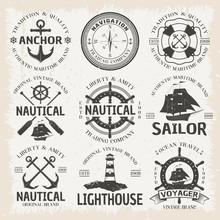 Nautical Emblem Set In Color