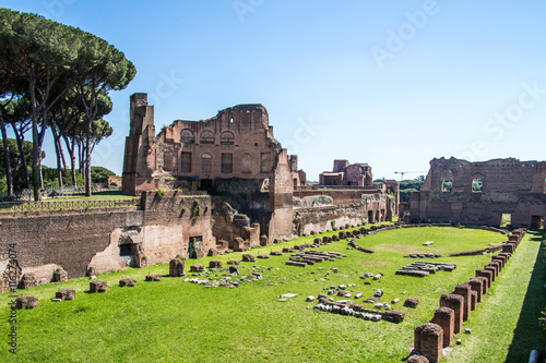 Obraz na plátně  the ruins of the Stadium on the Palatine Hill in Rome, Italy