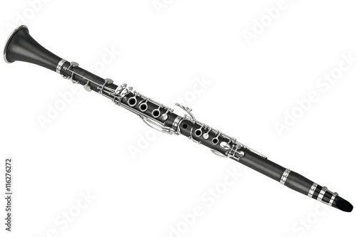 Clarinet jazz wind musical equipment. 3D graphic Tableau sur Toile