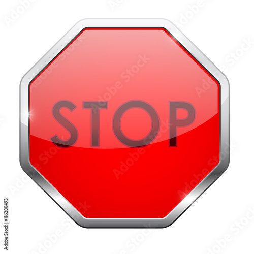 Stop button  Red web icon with chrome frame - Buy this stock