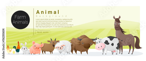 Foto  Cute animal family background with farm animals , vector , illustration