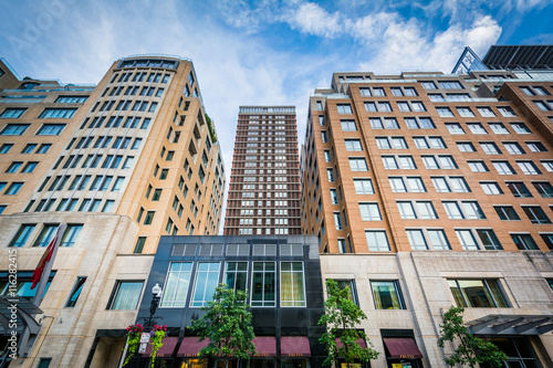 Photo  Highrises on Boylston Street, in Back Bay, Boston, Massachusetts
