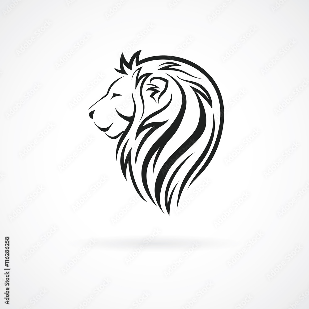 Lion head, vector logo design template, concept icon for logotype, emblem, brand identity, vector illustration