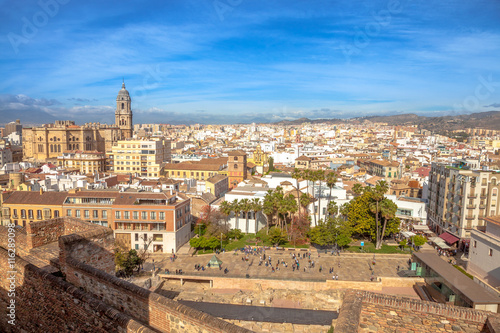 Garden Poster Palermo Panoramic view at Alcazaba of Malaga with skyline of city, the best preserved Moorish fortress palace in Andalusia, Spain.