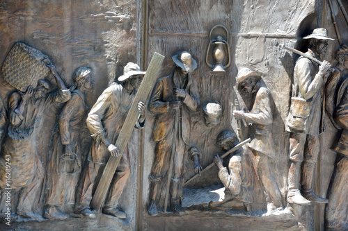 Photo  Details of monument to the African-American history from the Middle Passage, to the fight for freedom in the Civil War by Ed Dwight of Colorado