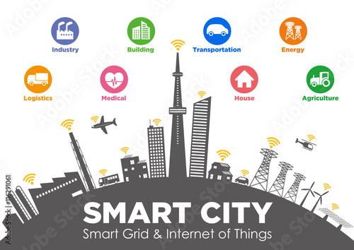 Fotografía  smart city on global ground with various technological icons, futuristic citysca