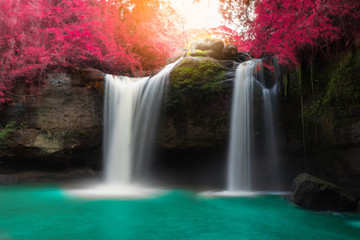Fototapeta Las Amazing beautiful waterfalls in autumn forest at Haew Suwat Waterfall in Khao Yai National Park, Thailand