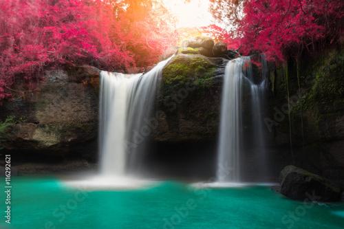Deurstickers Watervallen Amazing beautiful waterfalls in autumn forest at Haew Suwat Waterfall in Khao Yai National Park, Thailand