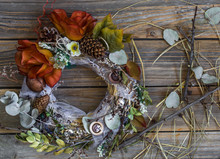 Autumn Wreath On Wooden Backgr...