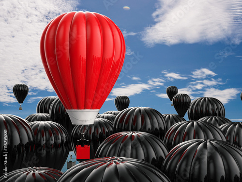 Poster Montgolfière / Dirigeable leadership concept with red hot air balloon