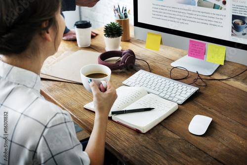 Obraz na plátně Workspace Workplace Working Wooden Table Art Concept