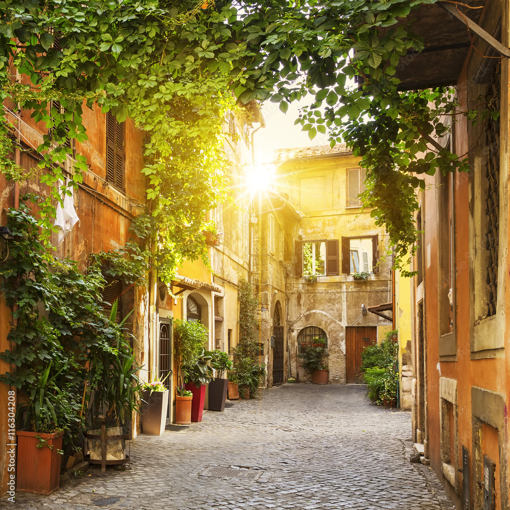 Fototapety, obrazy: View of Old street in Trastevere in Rome