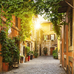 Fototapeta Uliczki View of Old street in Trastevere in Rome