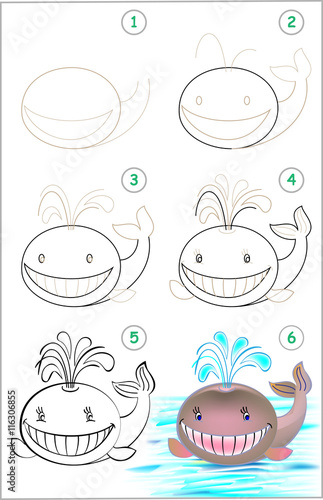 Fotografie, Obraz  Page shows how to learn step by step to draw a whale