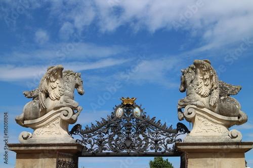 Photo  Main entrance to courtyard of Milotice castle, Czech republic