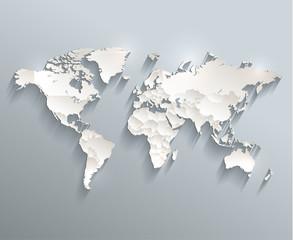 Fototapeta World political map 3D vector individual states separate