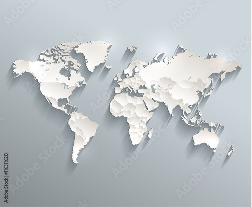 World political map 3D vector individual states separate