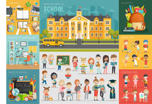 School Theme Set. Back To School, Workplace, School Kids And Other Elements.