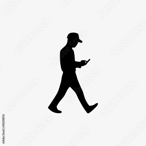 Silhouette man walking with the phone in hand and playing video game Poster