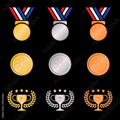 Gold Silver Bronze Medal And Trophies Olive Wreath Gradients Color On Black Background