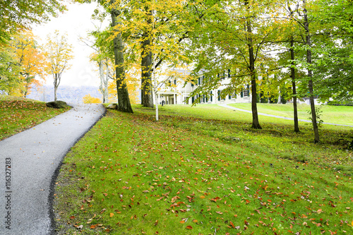 Manchester, Vermont - November 3, 2012: Road to Hildene, the Lincoln Family Home
