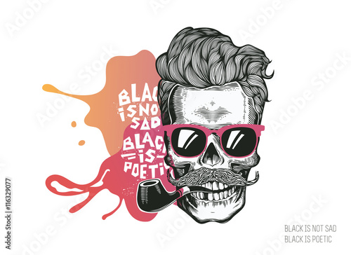 Poster Crâne aquarelle Skull. Hipster silhouette with mustache glasses and tobacco pipe on a colorful splash background. Vector illustration in modern engraving style. Perfect for t-shirt print, posters