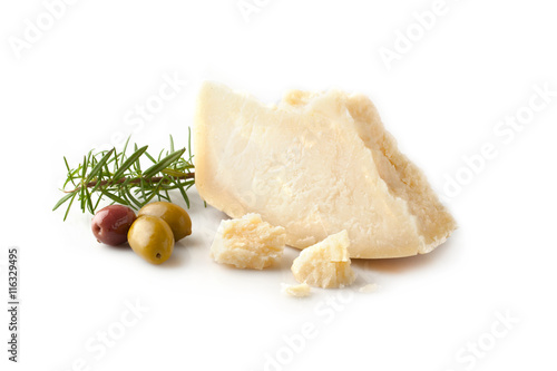 Fotografie, Obraz  Parmesan cheese with olives and rosemary