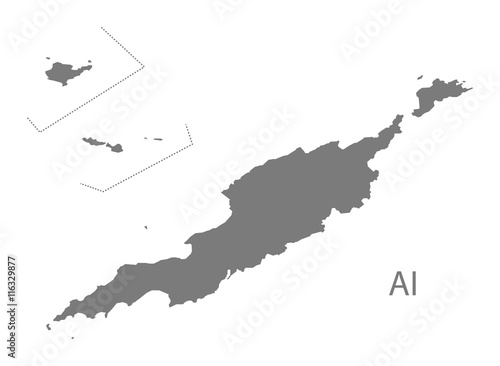 Anguilla Map grey Wallpaper Mural