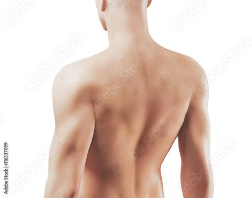 Fotografija  Schiena di uomo 3d nudo con muscoli