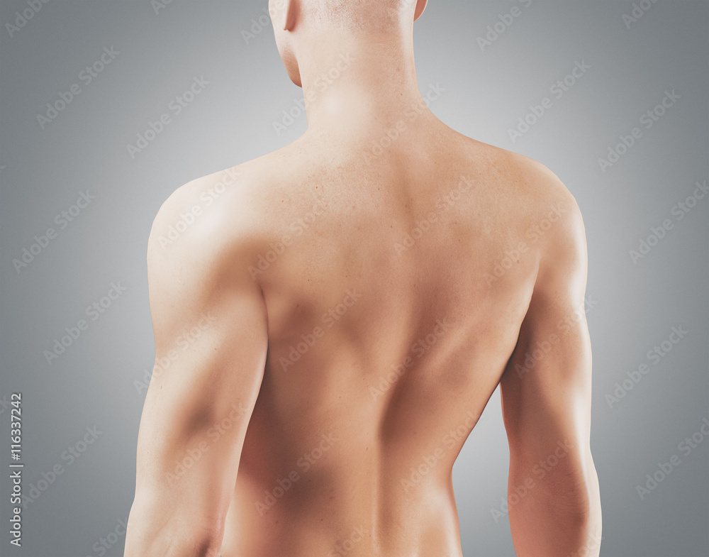 Fotografija  Uomo con schiena nuda e muscolosa 3d
