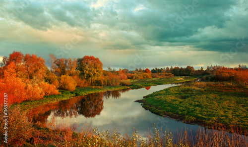 Poster Olive Autumn sunset landscape with river and yellowed tress