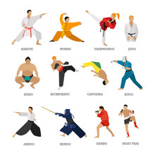 Vector Set Of Martial Arts People Silhouette Isolated On White Background. Sport Fighters Positions.