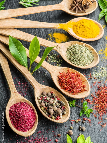 Canvas Prints Spices Assortment of colorful spices in the wooden spoons.