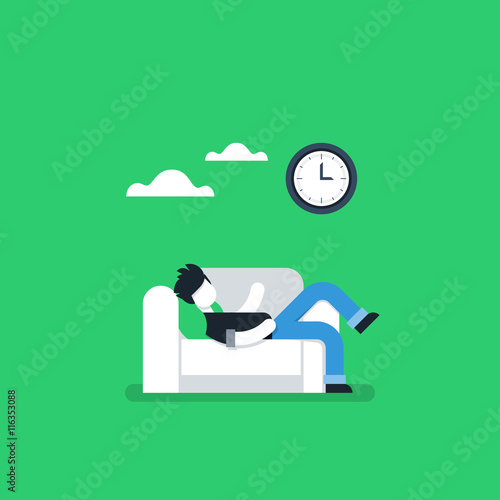 Fotografia  Procrastination concept, lazy man on sofa, couch potato, tired person, lying dow