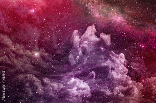purple nebula and cosmic dust in deep space Canvas Print