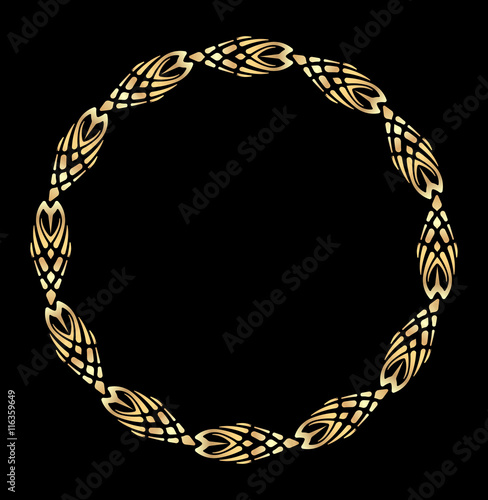 Fotobehang Stof Round vector golden heavy thick frame on a dark background for your design.