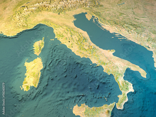 Italia Cartina Fisica Vista Satellitare Mappa Buy This Stock