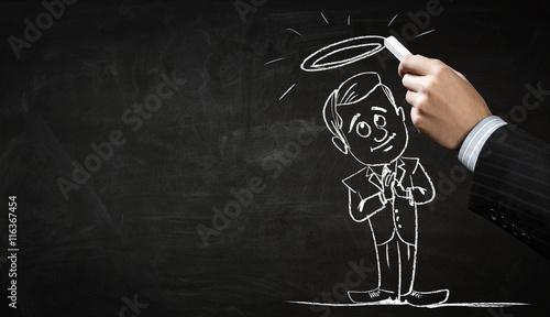 Canvastavla  Funny businessman chalk drawing .  Mixed media