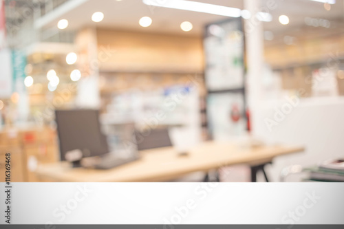 Fotografiet  Blur office room Interior of Background, product display templat