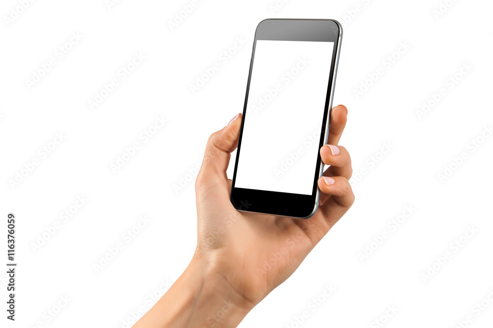 Fototapeta Mockup of feamle hand with a black cellphone with white screen isolated
