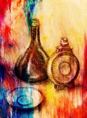 FototapetaDrawing flask and wine carafe on paper. Original hand draw and Color effect.