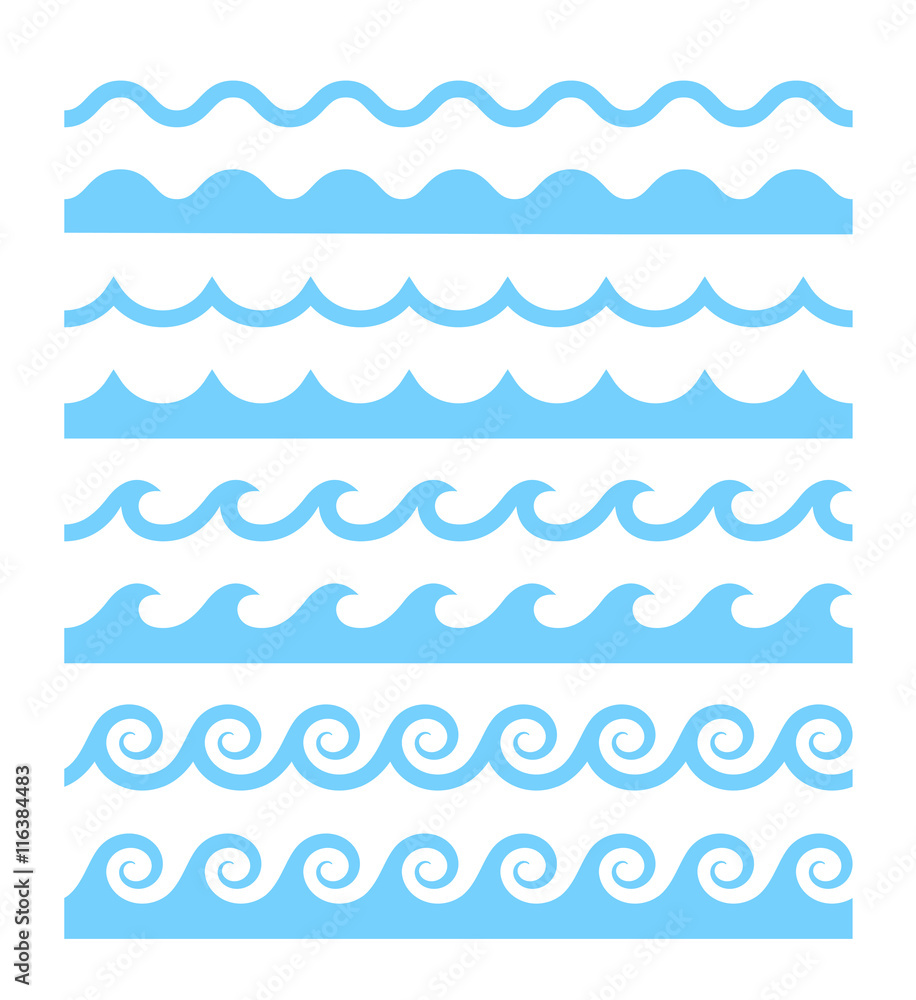Fototapety, obrazy: Vector water waves patterns