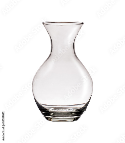 Clear glass vase isolated on a white background Canvas Print