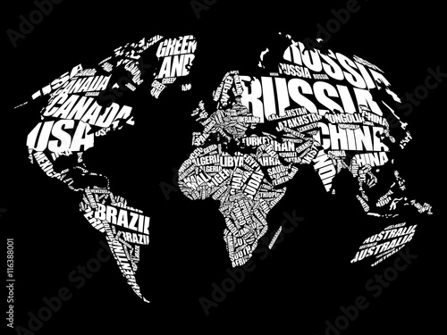 Fototapety, obrazy: World Map in Typography word cloud concept, names of countries