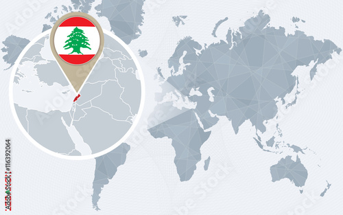 Fotografie, Tablou  Abstract blue world map with magnified Lebanon.