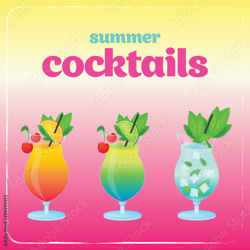 Alcohol cocktail set Poster